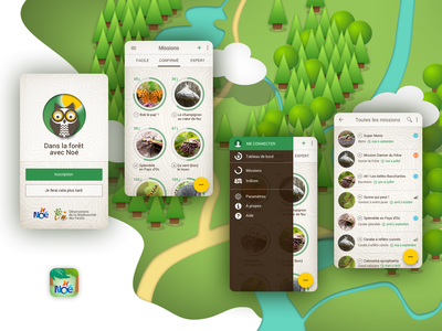 Biodiversity discovery mobile app urgency missions illustration nature mobile app forest discovery mascot biodiversity animal