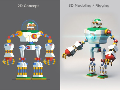 Concept & 3D Giant Robot 3dmodeling rigging vector character character animation character design motionlovers motiondesignschool mgcollective illustration