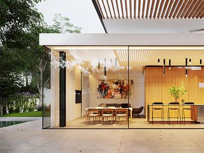 The MH House - Dining Shot detail photoshop render 3d cgi design dusk archviz architecture visualization