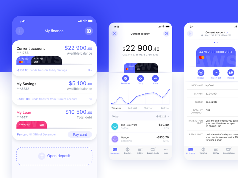 Bank app mobile app balance ui design ux design statement ios finance app finance card cards bank card banking app bank app bank account bank account