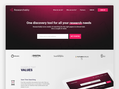 Landing page - researchably.com ui ux base data science find finder search research page landing