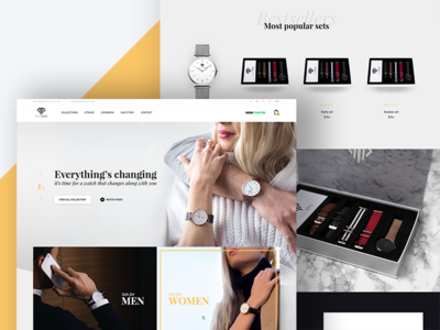 Online shop for watch brand services footer contept header about us product page fashion e-store modern clothes style buy e-commerce shop website brand watch