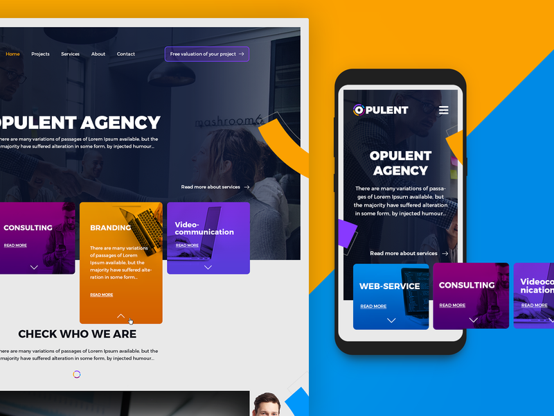 Opulent agency mobile ui advertisment website design landing product company page agency branding interactive agency ghapic