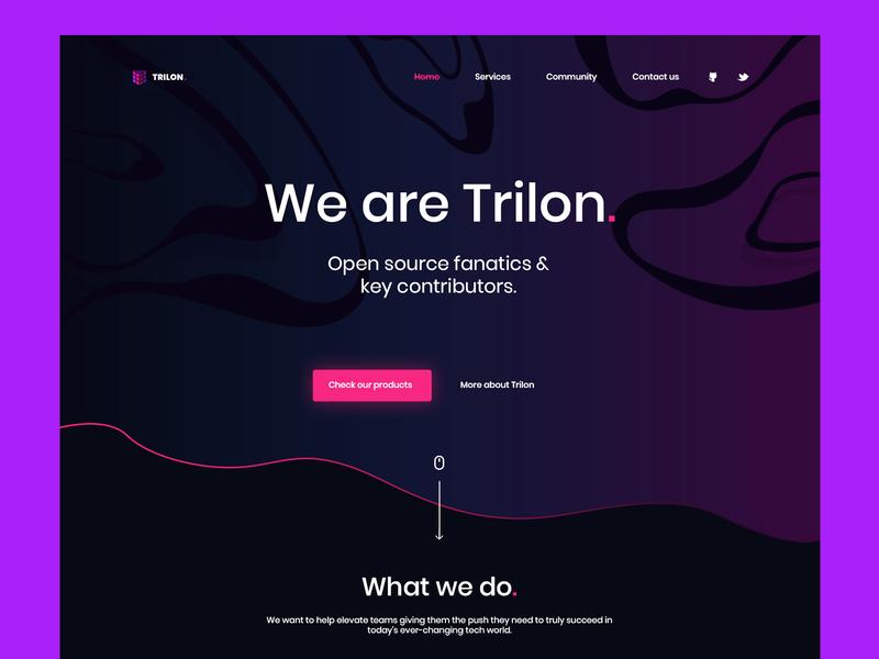 Trilon.io - Open Source Fanatics &  Key Contributors pink purple landing page onepage mobile startup agency website landing product company trilon