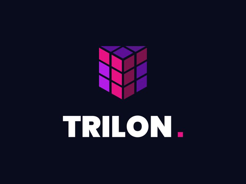 Trilon.io - Logo design rectangle triangle 3d square cube branding vector page identification signet logo trilon