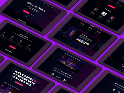 Trilon.io - full presentation video services team our team trilon company product landing website agency startup mobile onepage landing page purple pink