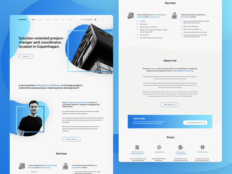 Opulent. ui  ux design ui contact contact form about me services footer portfolio onepage coordinator project agency