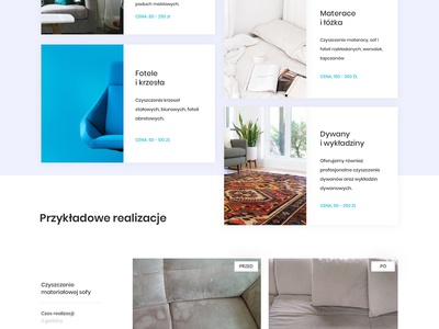 Cleaning company clean cleaning company cleaning service services price list prices cennik before after realizations about us onepage onepage website one-page footer contact
