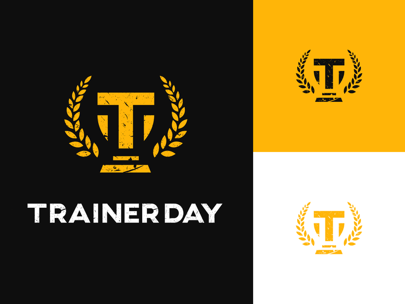 Trainerday - official logo orange illustrator bay laurel gym sport coach vintage t letter t logo logo design laurel wreath trainer training winning win champion cup logotype logo
