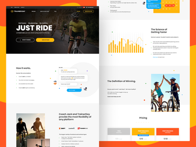 Trainerday faq cycling header illustration analytics chart services calendar header sport website webdesign chat bot coach data analysis conversation switch trainer footer design registration pricing list