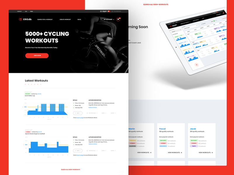 ERGdb.org - homepage ux ui open source footer featured workout webdesign sport website cycling cyclist