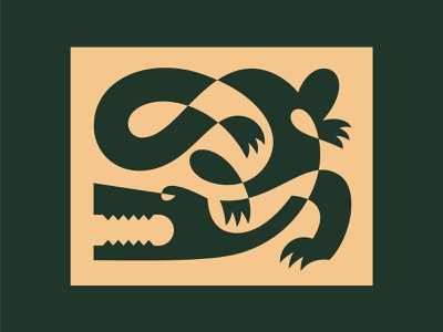 Crocodile forest jungle 2color design angry oneline minimal predator animal abstract illustration crocodile