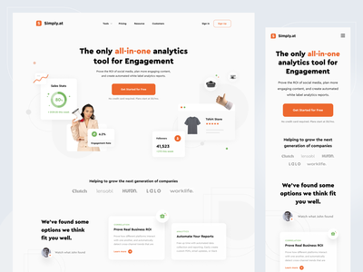 Simply.at – Landing Page ui  ux saas saas landing page responsive light white analytics social media hero section orange landing page web design website minimal ui clean
