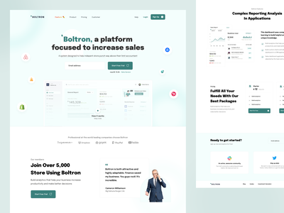 Boltron – Landing Page saas platform dipa agency dipa boltron green dashboard illustration web design website ux landingpage sales minimal ui clean