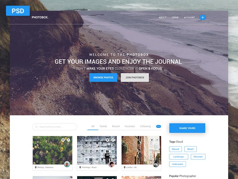 Photobox – PSD Blog Photographers photobox blue pixelperfect freebie blog design photographer blog web design