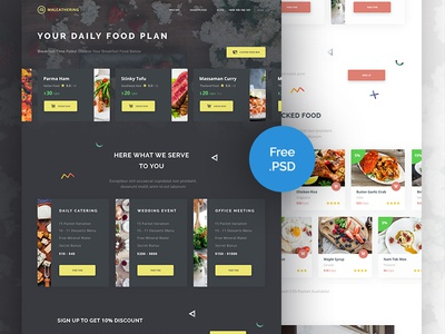 Freebie PSD : Landing Page For Cathering