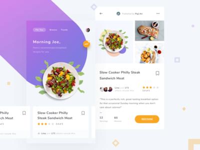 Exploration Cooking Assistant App cook blue food ios mobile app recipe minimal orange purple clean