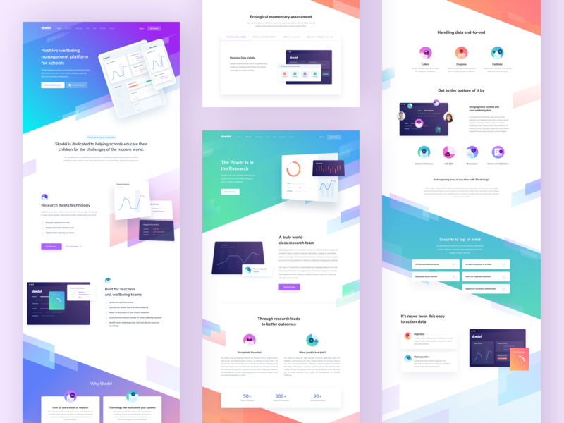 School Managing Platform Landing Page graph chart stats insight research pattern element ornament light ui school icon illustration warm blue gradient desktop web website tag: landing page