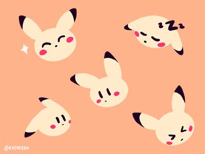 Pikachu Doodles procreate cute nintendo pikachu pokemon flat illustration