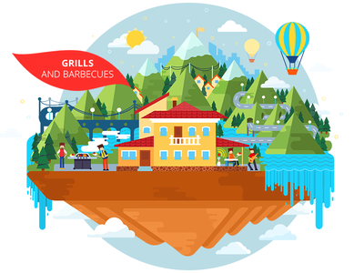 Illustration for site flat 2d vector grill gas island nature illustration waterfall house clean xara