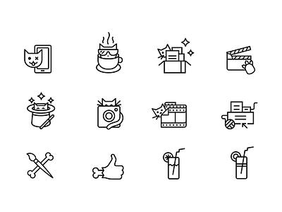 Line icons for site brush juice like illustrator cats stroke catzwolf icons line