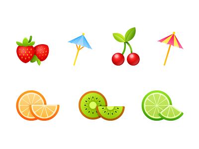 Cocktail party. Stickers for messenger. messenger illustration vector 2d watermelon kiwi orange strawberry fruit party cocktail sticker