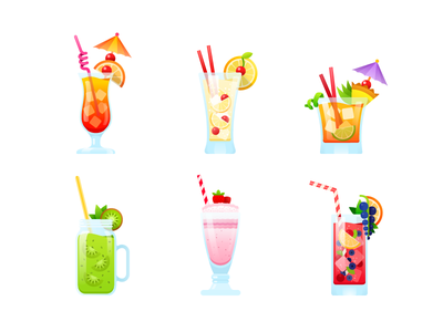 Cocktail party. Stickers for messenger. messenger illustration vector milk shake mai tai tequila juice berry fresh fruit cocktail sticker