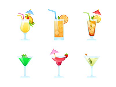 Cocktail party. Stickers for mountpic messenger. messenger illustration vector daiquiri martini long island screwdriver pina colada fruit party cocktail sticker