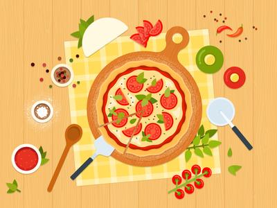 Margarita ai vegetarian vegetables vector food margarita illustration flat pizza