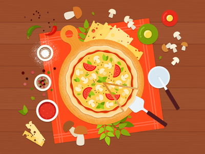Mushroom Pizza ai vegetarian recipe vegetables vector food illustration flat pizza