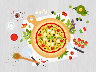Italian pizza 🍕 vegetarian vegetables vector food illustration flat pizza italian
