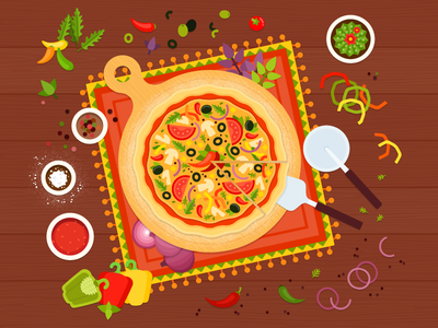 Mexican pizza 🌶 cooking vegetables food ai vector illustration flat pizza mexican