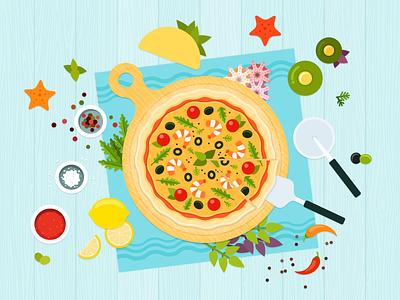 Seafood pizza 🌊 vegetables vector food illustration flat seafood ai pizza