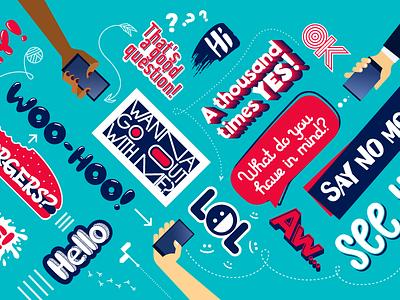 Small Talk Kit phrases lettering messenger vector stickerpack sticker flat tags illustration