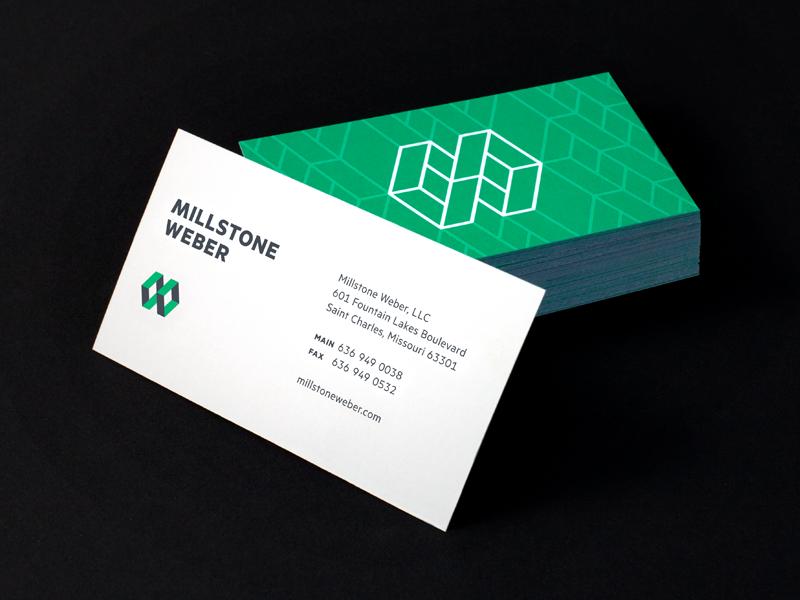 Millstone Weber Business Cards branding logo construction green gray business card monogram m w