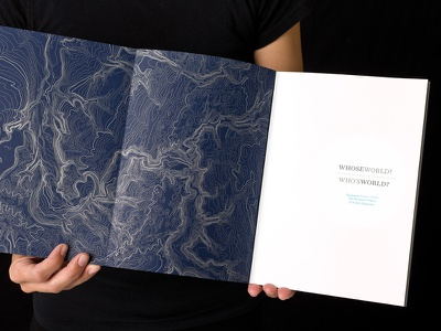 Whose World – gatefold cover luxury uncoated gatefold blue navy silver typography topography editorial book design