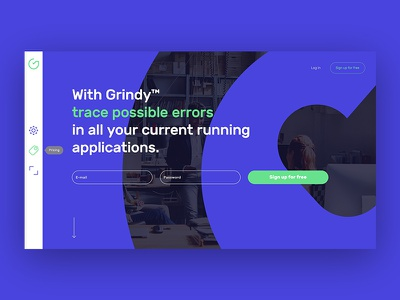 Grindy Landing Page (WIP) software lineart design app simple minimal product page web design web ux ui landing page