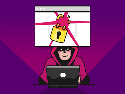 Cyber security animation breaking lock purple threat online hacking hack mac laptop guy vector adobe illustrator after effects animation illustration cyber security hacker