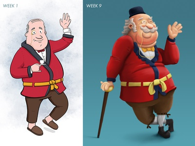 Start and end of character design course