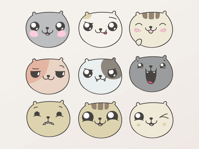 Cat Faces vector art vector kawaii cute animal happy adobe illustrator illustration emotions faces cat