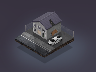 Abandoned house with sports car fence road game illustration abandoned graffiti lamborghini crack house house game asset