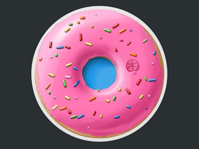 Donut Coaster for Sticker Mule contest delicious tag pink donut coaster coaster sticker mule contest sticker mule dribbble sprinkles photoshop snack candy delicious death frosting donut