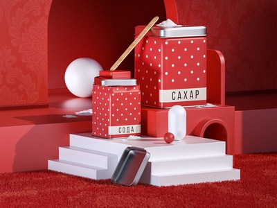 Back in USSR. Classic Russian tins for bulk products red tinsel salt ussr octane illustraion design 3dcomposition