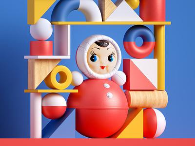 "Back in USSR. Classic Russian toy ""Nevalyashka"" navalyashka toy ussr octane illustraion design 3dcomposition"