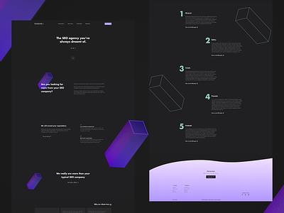 Dark UI for SEO company 3d blocks marketing website seo agency dark ui ui