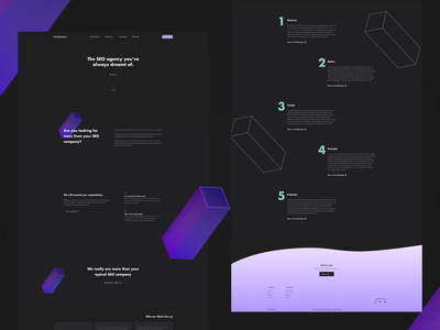 Dark UI for SEO company 3d blocks marketing website seo agency dark ui ui