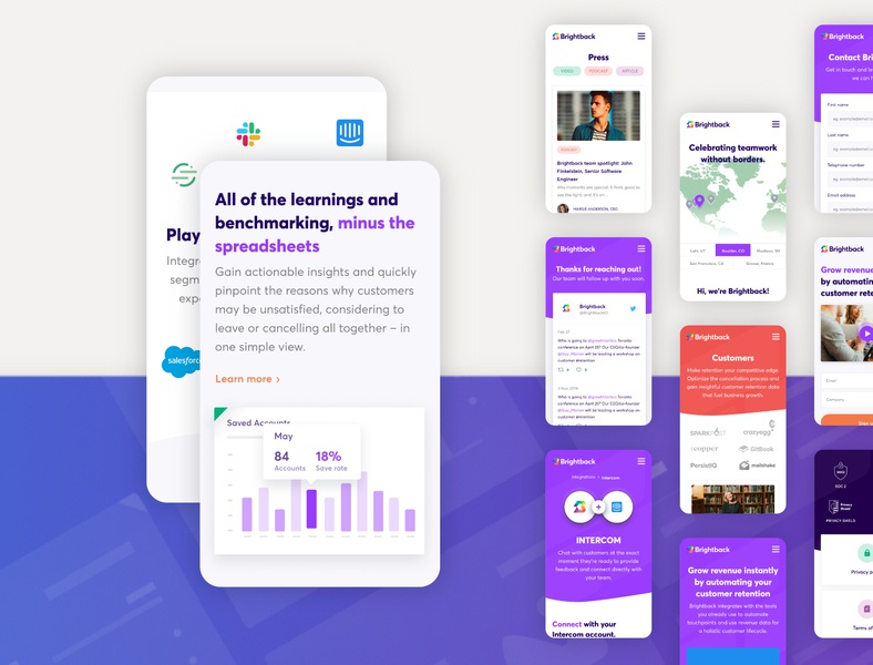 Brightback Website stats diagrams mobile tags marketing colorful purple service ui