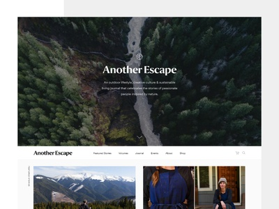 Another Escape Website articles adventure outdoor travel magazine blog clean minimal ui