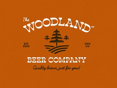 The Woodland Beer Company - Primary Logo trees beer denver colorado iconography typography branding logo vector icon