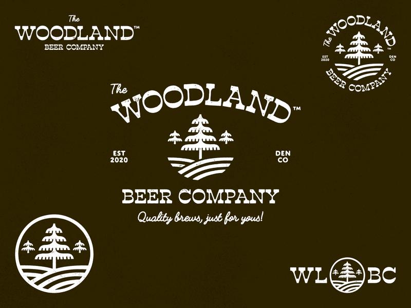 The Woodland Beer Company - Logo Variations trees beer denver colorado iconography typography branding logo vector icon
